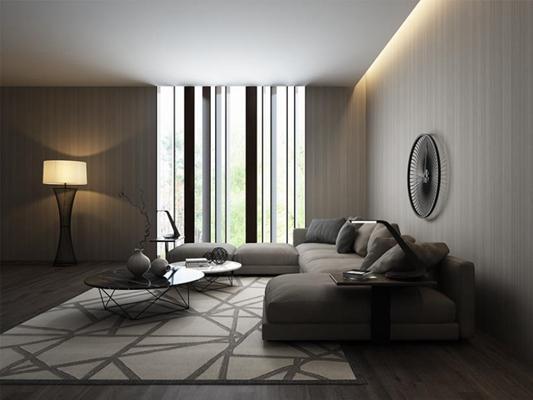 后现代客厅转角沙发茶几3D模型【ID:728057771】