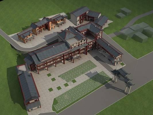 中式建筑3D模型下载【ID:519454620】
