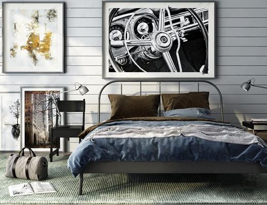 现代卧室家具组合3d模型【ID:728316050】