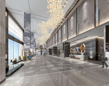 现代酒店大堂3D模型【ID:431946290】