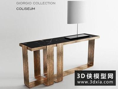 現代案幾臺燈組合國外3D模型【ID:829490116】