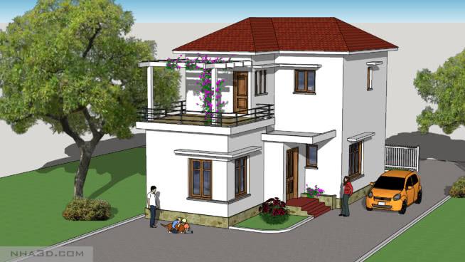 2層樓的房子SU模型【ID:639886756】