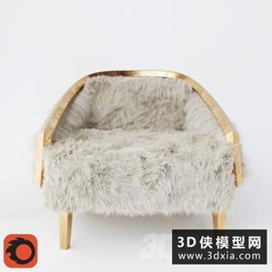 现代毛发休闲椅国外3D模型【ID:729311867】