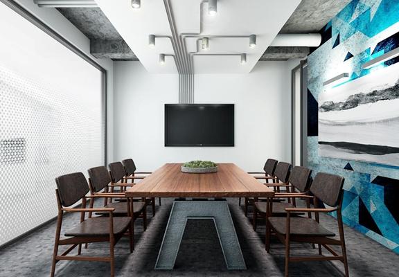 现代LOFT会议室桌椅3D模型【ID:728059841】