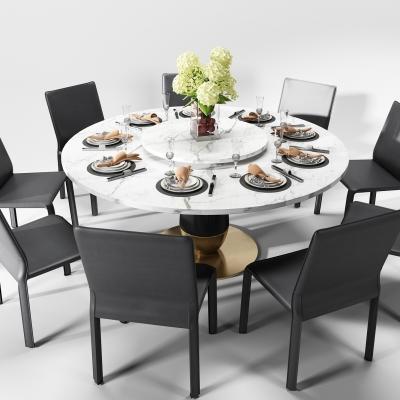 現代圓形大理石餐桌椅餐具擺件3D模型【ID:327790434】