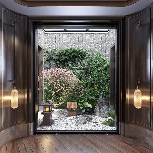 新中式天井花园景观3D模型【ID:142238405】