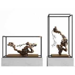 新中式石头雕塑装饰品3D模型【ID:928336128】