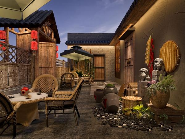 新中式民宿庭院3D模型【ID:247856402】
