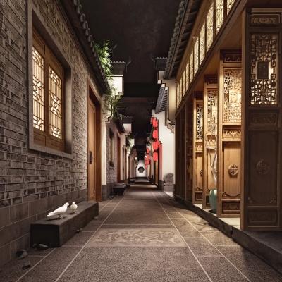 中式酒店餐廳走廊過道3D模型【ID:428443864】