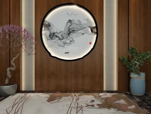 中式背景墙3D模型【ID:324892527】