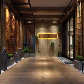 新中式门厅3D模型【ID:528011570】