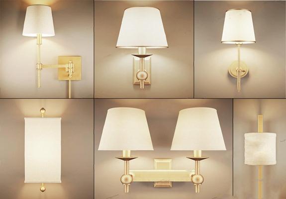 美式壁灯3D模型【ID:528010995】