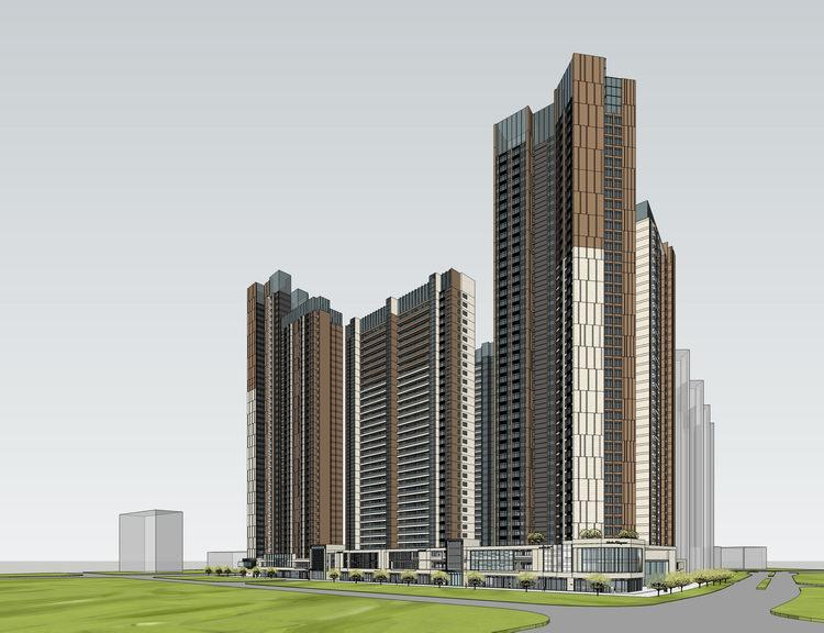 現代高層住宅SU模型【ID:236404776】