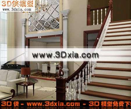 3D模型-豪华欧式楼梯【ID:7116】
