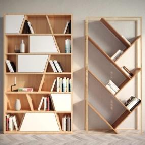 现代简约实木书柜书架书籍组合3D模型【ID:927834517】