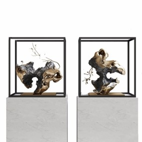 新中式石頭雕塑3D模型【ID:928338100】
