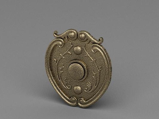 黄色铜艺门铃3D模型【ID:715033437】