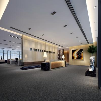 现代办公室前台3D模型【ID:715072775】