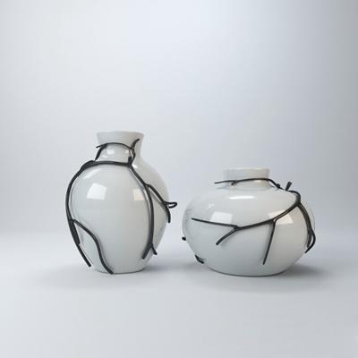 白色陶艺罐子3D模型【ID:715193304】