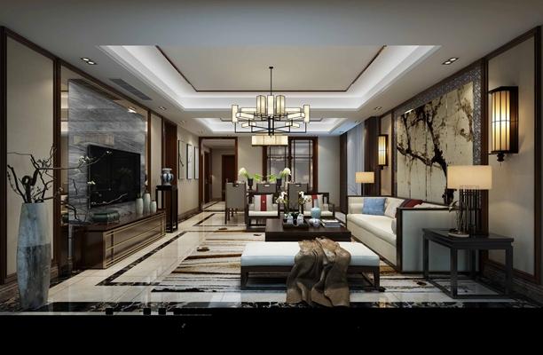 新中式家居客厅3D模型【ID:715395732】