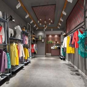 工业风服装店3D模型【ID:528022423】