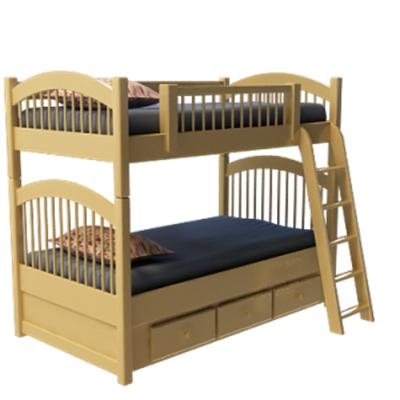 現代棕色木藝雙層床3D模型【ID:717467266】