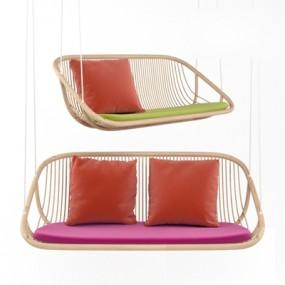 现代紫色布艺吊椅3D模型【ID:717561105】