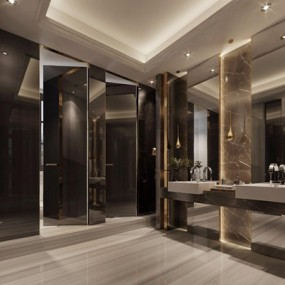 现代售楼处洗手间3D模型【ID:427975536】