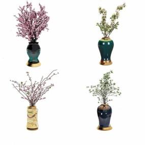 新中式花瓶花艺摆件3D模型【ID:328244569】