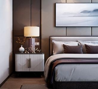 現代高級粉雙人床床頭柜組合3D模型【ID:720804095】