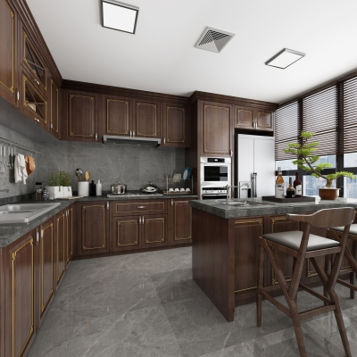新中式厨房橱柜3D模型【ID:727813307】