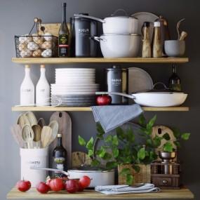 现代厨房厨具餐具食物调料组合3D模型【ID:827815340】