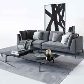 现代布艺双人沙发3D模型【ID:928564758】