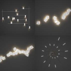 现代壁灯组合3D模型【ID:736237979】