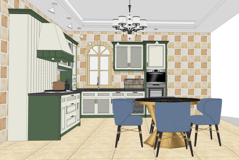 欧式厨房橱柜组合SU模型【ID:736405129】