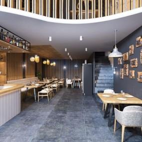 新中式餐厅3D模型【ID:328037130】
