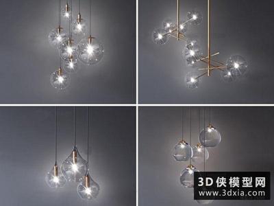 現代玻璃吊燈组合国外3D模型【ID:829344745】