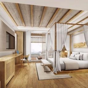 自然風民宿客房3D模型【ID:431401687】