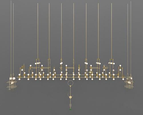 现代吊灯3D模型【ID:224893807】