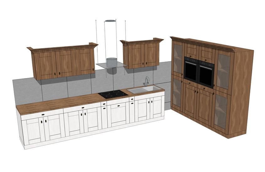 欧式厨房橱柜组合SU模型【ID:736405161】