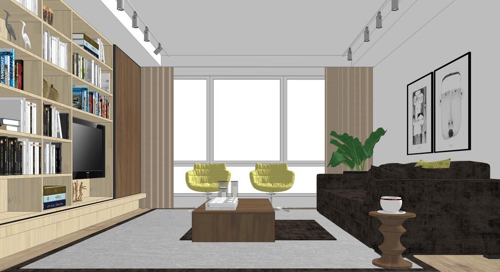 现代客厅设计SU模型【ID:936405864】