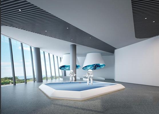 现代机器人展厅3D模型【ID:528276405】