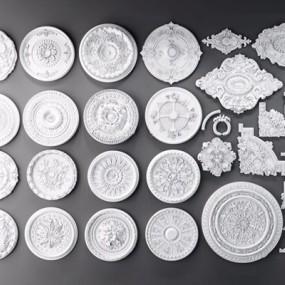 欧式石膏雕花组合3D模型【ID:828134677】