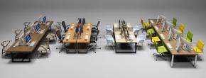 现代办公桌椅组合3D模型【ID:627805620】