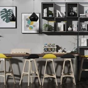 现代桌椅组合3D模型【ID:628298345】