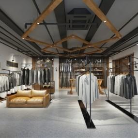 工业风服装店3D模型【ID:528452463】