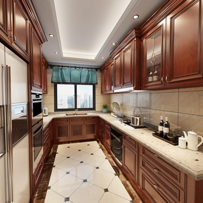 美式厨房3D模型【ID:427940994】