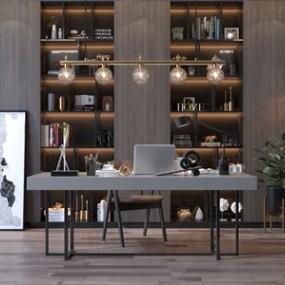 现代书桌椅子书柜组合3D模型【ID:936237098】