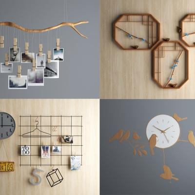 现代墙饰挂件相片时钟3D模型【ID:227781260】