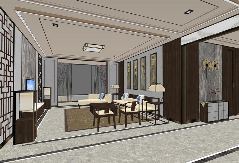新中式客廳餐廳室內設計SU模型【ID:936406814】